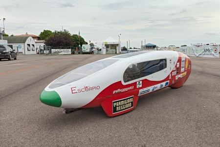 high powered:  the electric vehicle Escorpio, that took part at the competition Shell Eco-Marathon, a hybrid hydrogen fuel cell and solar panel by italian team ZeroC of ITIS  Leonardo da Vinci  high school in Carpi  MO , in Expo
