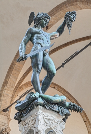 Perseus with the Head of Medusa, the famous bronze statue by Benvenuto Cellini in Florence, Italy photo