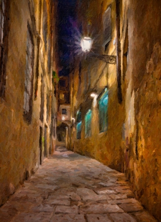 oil painting on canvas depicting a narrow alley at night in Florence, Tuscany, Italy  photo