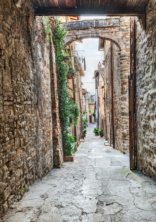 bevagna: picturesque antique narrow alley with arche in Bevagna, Umbria, Italy