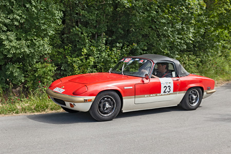 elan: a vintage sportscar Lotus Elan Sprint (1971) runs in rally VII Coppa cittá di Meldola on June 2, 2013 in Meldola (FC) Italy
