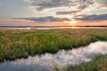 landschap bij zonsondergang van het moeras - de lagune in het natuurreservaat van Comacchio, Ferrara, Italië