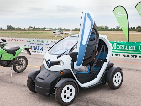ze: electric city car Renault ZE Twizy exhibited at  Expo  AEM-ZERO Alternative Energy for Mobility Zero Emissionon on September 19, 2013 in Lugo, RA  Italy Editorial