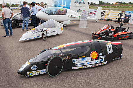 high powered: the high efficiency vehicle Clipper-D powered by GTL  Gas To Liquid , that took part at the Shell Eco-Marathon, at Expo  AEM-ZERO Alternative Energy for Mobility Zero Emissionon on September 19, 2013 in Lugo  RA  Italy