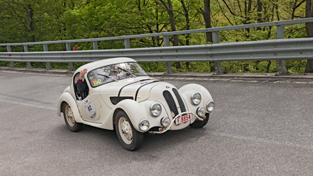 mille: an old car BMW 328 coupe