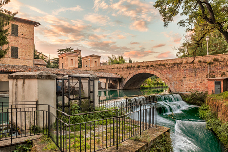 bevagna: view of Bevagna, Umbria, Italy, with bridge, canal of the old mills and waterfalls