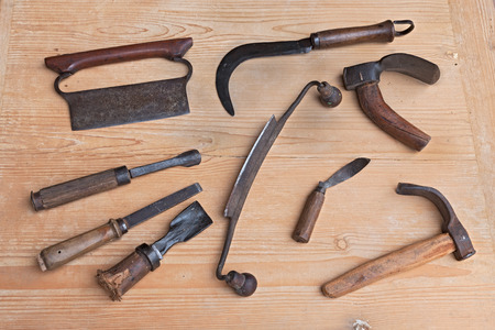 wood cutter: old tools of carpentry for carving, smoothing or cutting wood - ancient woodworking hand tools to cut, carve, smooth