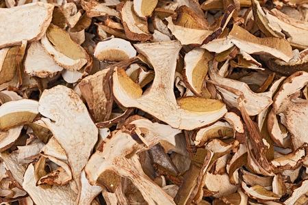 osier: slices of dried porcini mushrooms, edible boletus edulis,on display in the italian market
