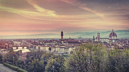 simulate: view at sunset of Florence, Tuscany, Italy - italian landscape at dusk  - image filtered to simulate a vintage film