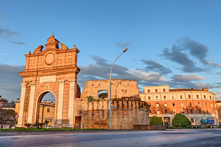 the ancient city gate  Porta Schiavonia  in the town Forli photo