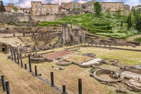 volterra: antique Roman Theater  1st century BC  in Volterra, Tuscany, Italy - italian archeology, ruins of an ancient amphitheater