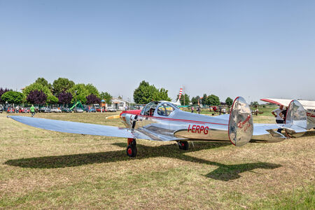 monoplane: vintage american aircraft Erco Ercoupe 415D exposed at festival  Belle Epoque  of Aero Club Lugo on June 7, 2014 in Lugo, RA, Italy