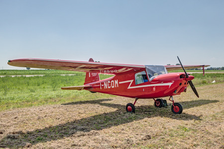 mb: vintage Aermacchi MB 308, a light aircraft produced in Italy in the late 1940s, for tourism or training, exposed at festival  Belle Epoque  of Aero Club Lugo on June 7, 2014 in Lugo, RA, Italy