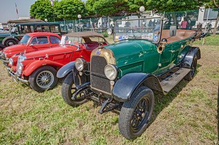 italian car: old italian car Fiat 501  1924  exposed at festival  Belle Epoque  of Aero Club Lugo on June 7, 2014 in Lugo, RA, Italy