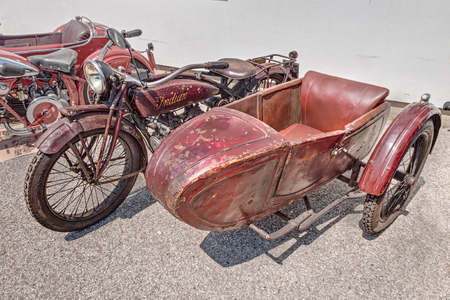 cc: old motorcycle Indian Scout Side 600 cc with sidecar  1923  exposed at festival  Belle Epoque  of Aero Club Lugo on June 7, 2014 in Lugo, RA, Italy   Editorial