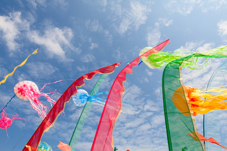 artistic kites, banners, flags, sails, strips fluttering in the sky at International kite festival, on May 1, 2014 in Cervia  RA  Italy Stock Photo - 29363461