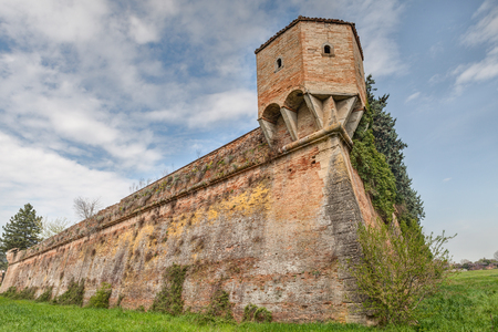emilia romagna: the medieval city wall with corner turret in the ancient town Terra del Sole, Forli