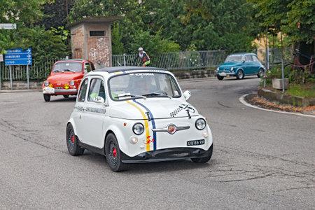 e 27: vintage tuning Fiat 500 Abarth in rally 3° Raduno auto e moto d epoca di Villafranca  on July 27, 2014 in Forli , Italy