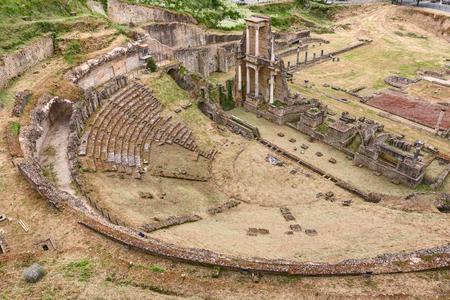 1st century: antique Roman Theater (1st century BC) in Volterra, Tuscany, Italy - italian archeology, ruins of an ancient amphitheater