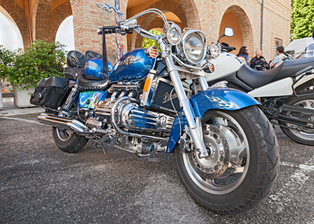 valkyrie: custom motorbike six cylinder engine Honda Valkyrie GL1500C F6C parked during the motorcycle rally \Mototagliatella 2013\ on May 12, 2013 in Predappio (FC) Italy Editorial