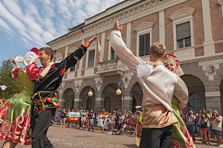 the ensemble Metelitsa from Novosibirsk, Russia, performs folk dances during the International Folklore Festival of Russi, on August 4, 2013 in Russi, RA, Italy