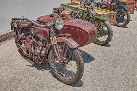 vintage sidecar motorcycle Indian Scout Side 600 cc (1923) exposed at festival Belle Epoque of Aero Club Lugo on June 7, 2014 in Lugo, RA, Italy