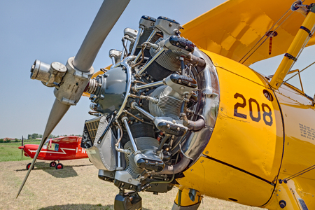 Jacobs R-755 seven cylinder, air cooled, radial engine of a vintage biplane aircraft Boeing Stearman Model 75 (1941) exposed at festival Belle Epoque of Aero Club Lugo on June 7, 2014 in Lugo, RA, Italy