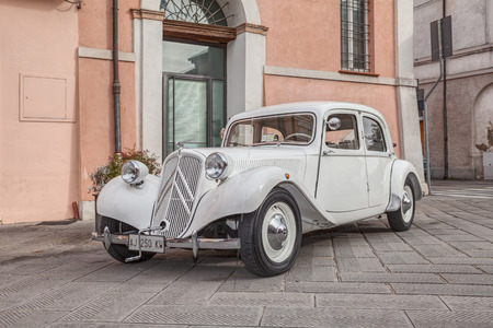 avant: vintage car Citroen Traction Avant 11BL (1939) in classic cars rally during the feast -Sagra dei sapori d autunno- on November 9, 2014 in Bagnacavallo, RA, Italy