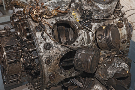 world war two: engine destroyed of an old military aircraft that crashed during the world war two Stock Photo