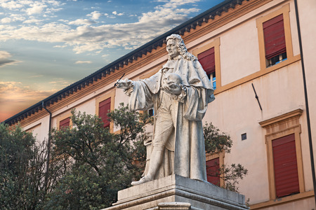 pathologist: ancient statue of the famous doctor anatomist and pathologist Giovanni Battista Morgagni (1682 ? 1771) celebrated as the father of modern anatomical pathology, in Forli, Emilia Romagna, Italy Stock Photo
