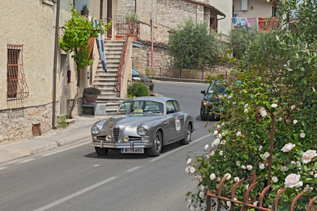 farina: the crew N, Abel - G. Freimueller on a classic car Alfa Romeo 1900 Super Sprint Pinin Farina (1955) in historic race Mille Miglia, on May 17, 2014 in Colle di Val d Elsa, Tuscany, Italy Editorial