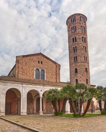 emilia romagna: ancient catholic Basilica of Sant Apollinare Nuovo with round bell tower in Ravenna, Emilia Romagna, Italy