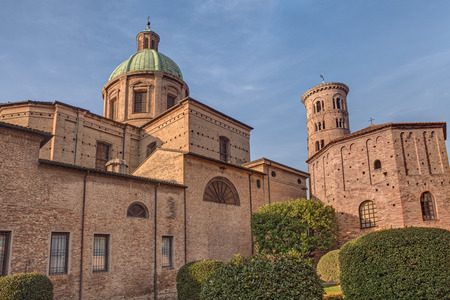 ravenna: view of the courtyard of the cathedral and Neonian Baptistery, the most ancient monument of Ravenna, Emilia Romagna, Italy