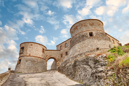 emilia romagna: entrance to the ancient italian castle, the medieval fortress of Torriana, Rimini, Emilia Romagna, Italy