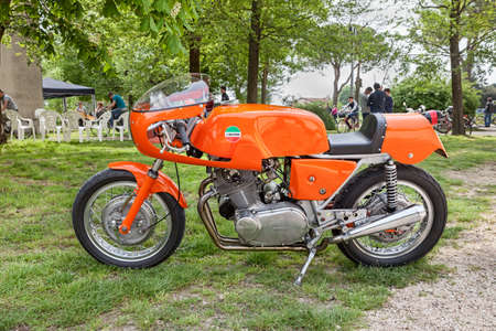 vintage Italian cafe racer sports bike Laverda 750 SFC in classic car and motorcycle rally 15th auto moto raduno on April 25 2015 in Piangipane RA Italy