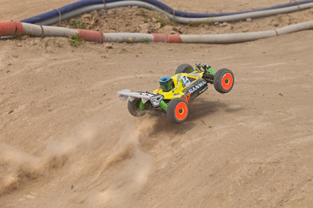 off track: radio controlled buggy car model internal combustion engine scale 18 off road in dirt track Il Pozzo during the regional race AMSCI on April 26 2015 in Riolo Terme RA Italy