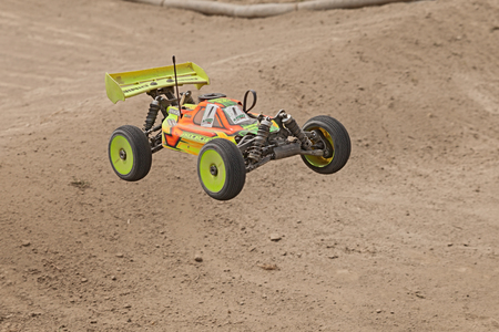 off road: radio controlled buggy car model internal combustion engine scale 18 off road in dirt track Il Pozzo during the regional race AMSCI on April 26 2015 in Riolo Terme RA Italy