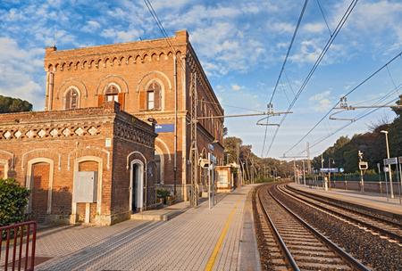 leghorn: Ancient train station in the village Castiglioncello on the coast of the Ligurian Sea near Livorno Leghorn Tuscany Italy Stock Photo
