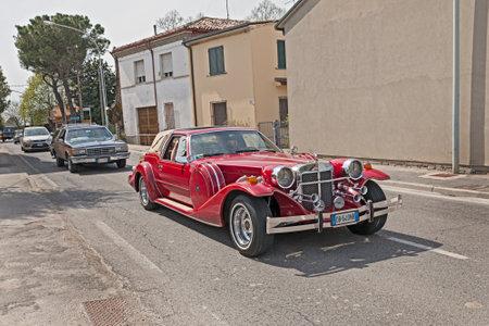 ra: luxury neoclassic american car Zimmer Golden Spirit 1982 in Raduno auto e moto depoca on April 25, 2015 in Traversara, RA, Italy Editorial