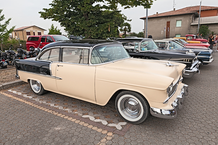 custom car: vintage american car Chevrolet Bel Air of the fifties in rally of vintage and custom car and motorcycle Kustom Revolution on June 15, 2015 in Forlimpopoli, FC, Italy