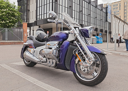 chromium plated: six cylinder engine limited edition motorbike Honda Valkyrie Rune in motorcycle rally on May 3, 2015 in Ravenna , Italy Editorial
