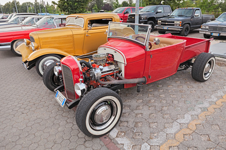 speedster: classic american hot rod pickup Ford in rally of vintage and custom cars Kustom Revolution on June 15, 2015 in Forlimpopoli, FC, Italy