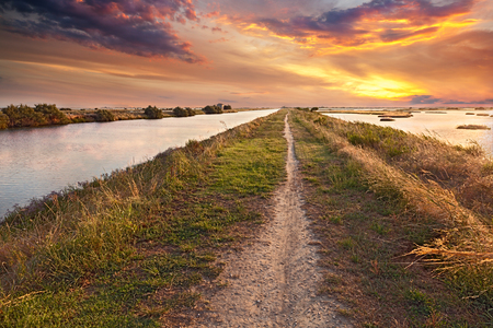 picturesque landscape at sunset of the wetland, a long straight path across the lagoon in the natural reserve Valli di Comacchio, near Ferrara, Emilia Romagna, Italy