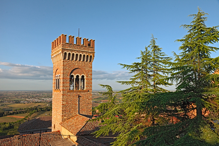 emilia romagna: landscape with the old bell tower in the picturesque medieval town Bertinoro, Emilia Romagna, Italy