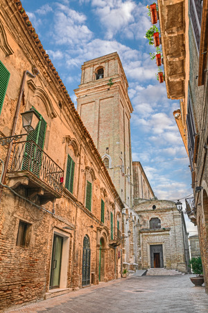 abruzzo: street of the old town with medieval catholic church of Santa Maria Maggiore in Vasto, Abruzzo, Italy