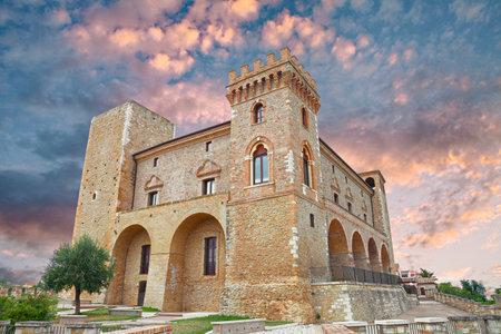 abruzzo: medieval italian castle at sunset in the old town Crecchio, Chieti, Abruzzo, Italy Editorial