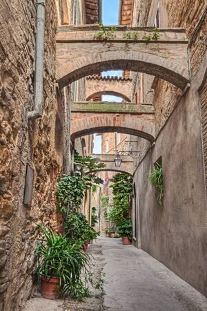 bevagna: picturesque narrow alley with ancient arches and pot plants in Bevagna, Umbria, Italy