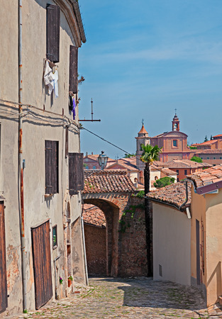 emilia romagna: old alley and ancient churches on background in the old town of Longiano, Emilia Romagna, Italy Stock Photo