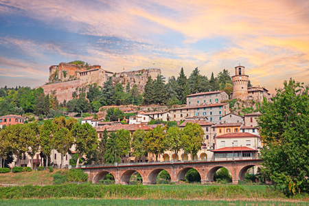 emilia romagna: landscape of the spa town Castrocaro Terme with the ancient castle above in Emilia Romagna, Italy Editorial