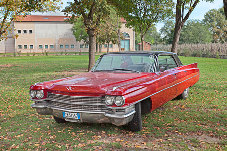 sixties: vintage american car Cadillac Series 6200 of the sixties parked during the classic car rally at the festival Sagra paesana on October 13, 2013 in San Pancrazio, RA, Italy